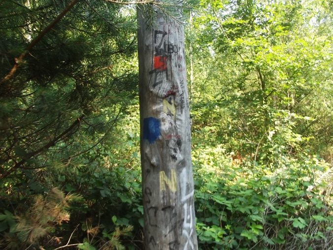 Signpost to Nimis, also nature trails (I took the blue route)