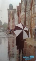 "Postcard No.1 ""Pissing down in Bergen."""
